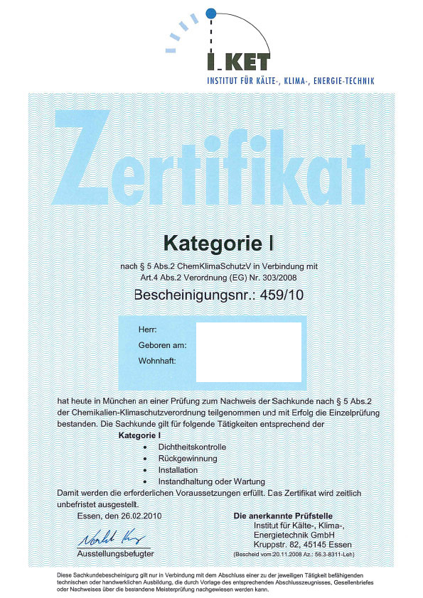 Zertifikate - Ackermann Heizung-Klima-Sanitär